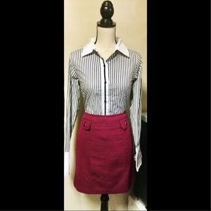 Outfit: Gray Striped Button Up w/Pink Pencil Skirt